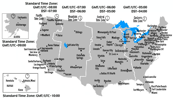 Us Time Change Map | MAP of US
